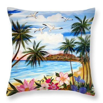 Throw Pillow featuring the painting Tropical Paradise by Roberto Gagliardi