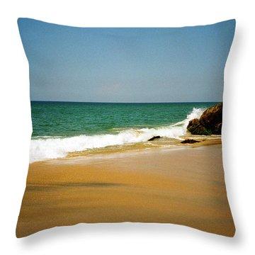 Tropical Sandy Beach Throw Pillow by Jasna Buncic