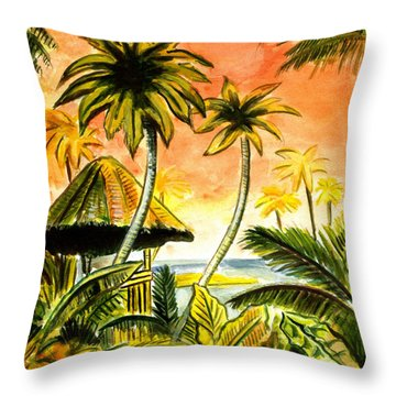 Tropical Skies Throw Pillow by John Keaton
