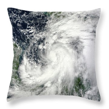 Tropical Storm Sandy Hovering Throw Pillow by Stocktrek Images