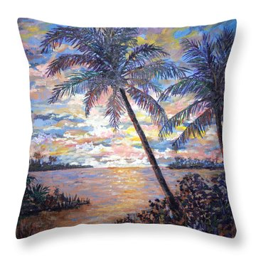Throw Pillow featuring the painting Tropical Sunset by Lou Ann Bagnall
