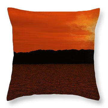 Tropical Sunset Throw Pillow by Lourry Legarde