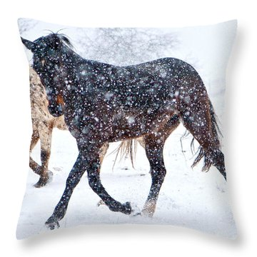 Trotting In The Snow Throw Pillow by Betsy Knapp