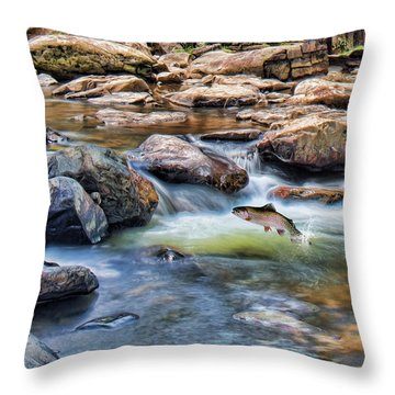 Throw Pillow featuring the digital art Trout Stream by Mary Almond