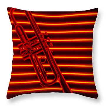Trumpet And Red Neon Throw Pillow by Garry Gay