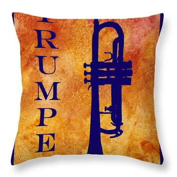 Trumpet Throw Pillow by Jenny Armitage