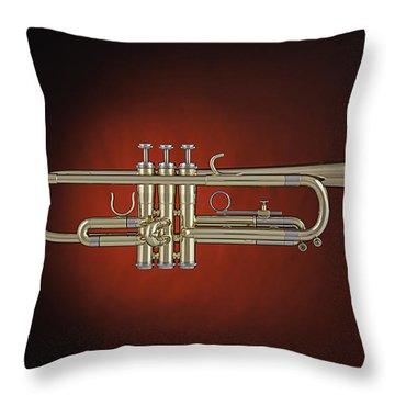 Trumpet Red Spotlight  Throw Pillow