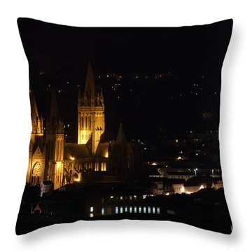 Truro Cathedral Illuminated Throw Pillow by Brian Roscorla