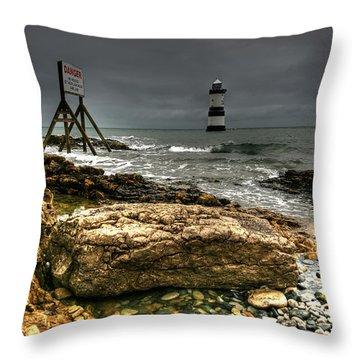 Trwyn Du Lighthouse Throw Pillow by Adrian Evans