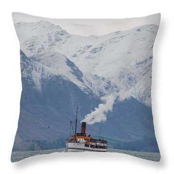 Tss Earnslaw Steamboat Against The Southern Alps Throw Pillow by Laurel Talabere