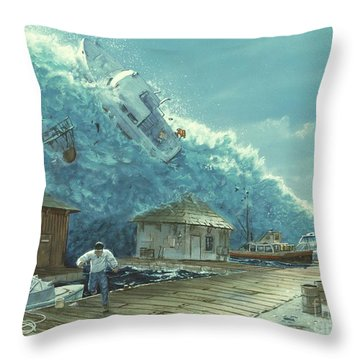 Tsunami Throw Pillow by Chris Butler and Photo Researchers
