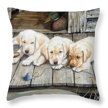 Tuckered Out Trio  Sold  Prints Available Throw Pillow