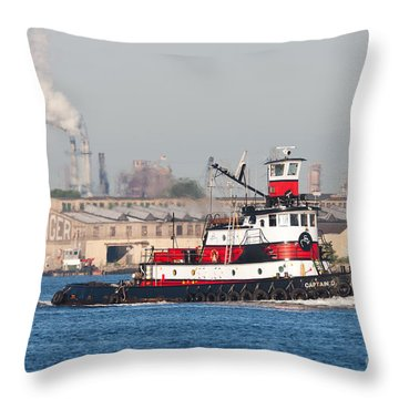 Tugboat Captain D In Newark Bay I Throw Pillow by Clarence Holmes