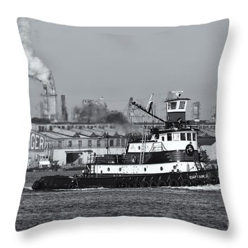 Tugboat Captain D In Newark Bay II Throw Pillow by Clarence Holmes