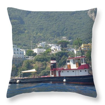 Throw Pillow featuring the photograph Tugboat In Capri by Nora Boghossian