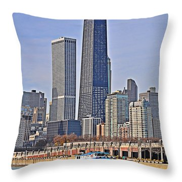 Tugboat On The Chicago River Throw Pillow by Mary Machare