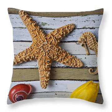 Tulip And Starfish Throw Pillow by Garry Gay