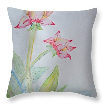 Tulip Duo I  Throw Pillow by Debbie Portwood