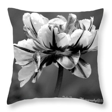 Tulip In Black And White Throw Pillow