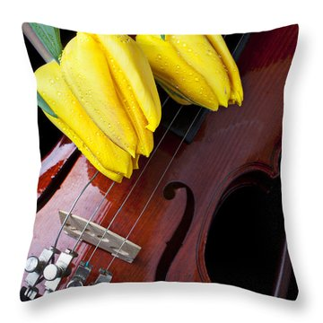 Tulips And Violin Throw Pillow by Garry Gay