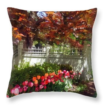 Tulips By Dappled Fence Throw Pillow by Susan Savad