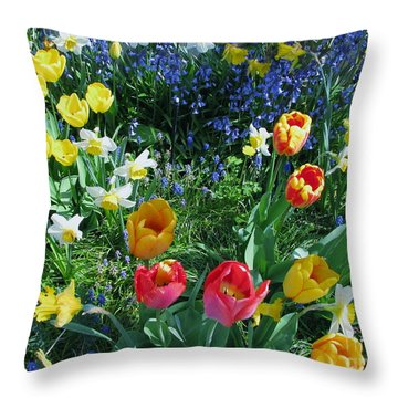Tulips Dancing Throw Pillow by Rory Sagner