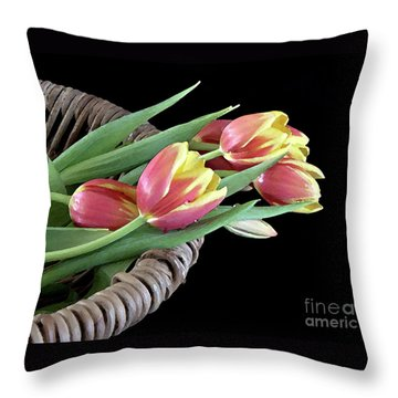 Tulips From The Garden Throw Pillow