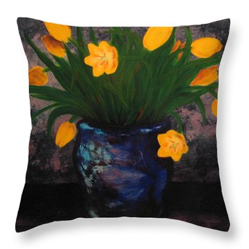 Tulips In Blue Throw Pillow