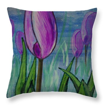 Tulips In The Mist Throw Pillow