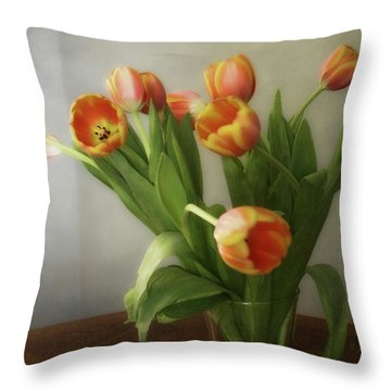 Throw Pillow featuring the photograph Tulips by Joan Bertucci