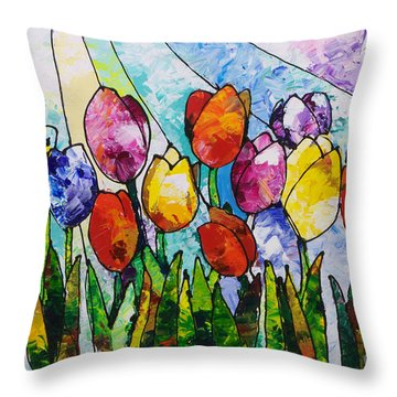 Tulips On Parade Throw Pillow