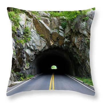 Tunnel On A Lonely Road Throw Pillow