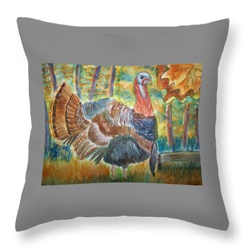 Turkey In Fall Throw Pillow