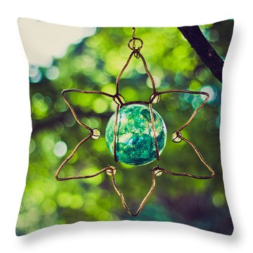 Turquoise Light Throw Pillow by Sara Frank