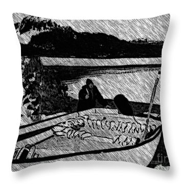 Turr Hunt Sketch Throw Pillow by Barbara Griffin