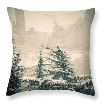 Turret In Snow Throw Pillow by Silvia Ganora