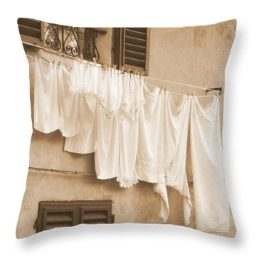 Throw Pillow featuring the photograph Tuscan Laundry by Ramona Johnston