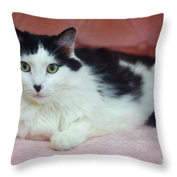 Tuxy In Repose Throw Pillow by Byron Varvarigos