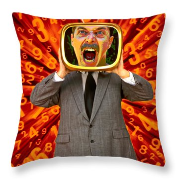 Tv Man Throw Pillow by Garry Gay