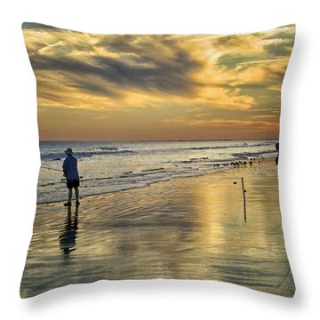 Twilight Fishing Throw Pillow by Phill Doherty