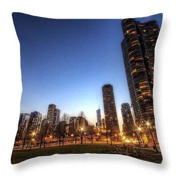 Twilight In Chicago Throw Pillow
