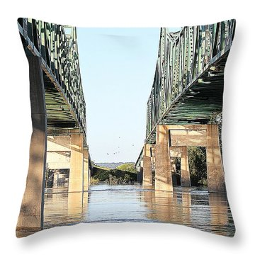 Throw Pillow featuring the photograph Twin Bridges by Elizabeth Winter