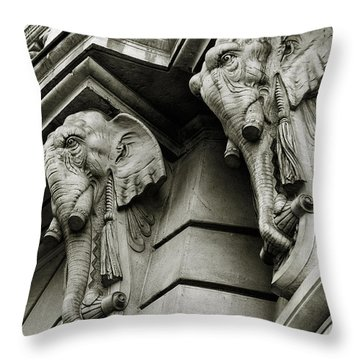 Twin Elephants Throw Pillow by Syed Aqueel