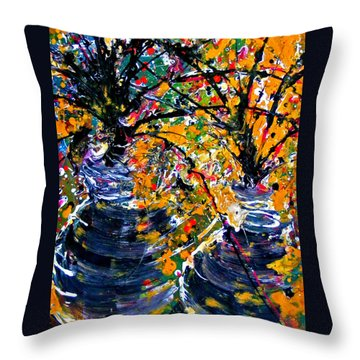 Twin Flowers Throw Pillow