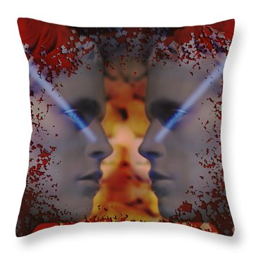 Throw Pillow featuring the digital art Twins One Look by Rosa Cobos