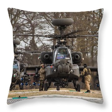 Two Ah64 Apaches Throw Pillow