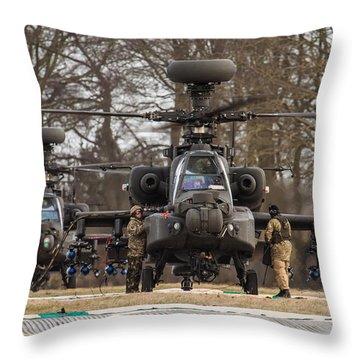 Two Ah64 Apaches Throw Pillow by Ken Brannen
