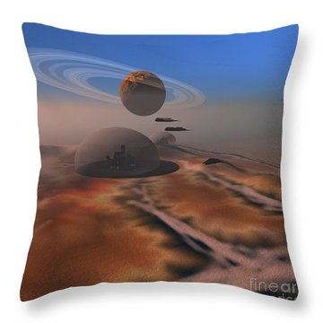 Two Aircraft Fly Over Domes Throw Pillow by Corey Ford