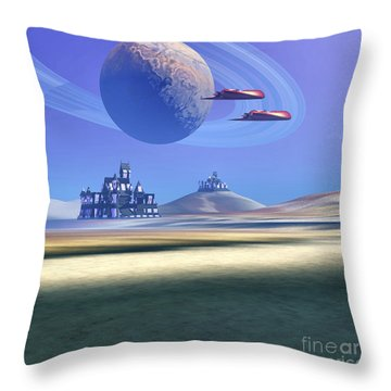 Two Aircraft Guard This Alien Planet Throw Pillow by Corey Ford