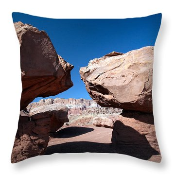 Throw Pillow featuring the photograph Two Balancing Boulders In The Desert by Karen Lee Ensley